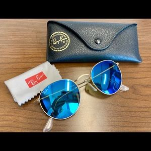 Polarized blue flash round metal ray ban